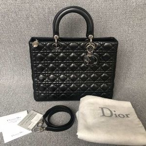 LAMBSKIN CANNAGE LADY DIOR LARGE BLACK TOTE